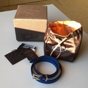 EUC Tod's Blue Triple Wrap Leather Bracelet